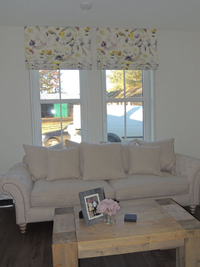 Floral blinds for patio door